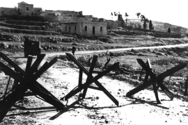 Barricades on Palestinian roads, April 30, 1948, Palestine, Israel, Washington, National Archives [Getty]