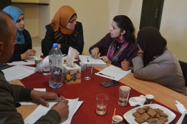 Teachers attend an Heirloom Seed Library workshop in the West Bank village of Battir [Photo courtesy of Vivien Sansour]