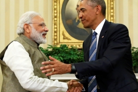 US President Barack Obama (right) shakes hands with India's Prime Minister Narendra Modi after their remarks to reporters following a meeting in the Oval Office on June 7 [Reuters]