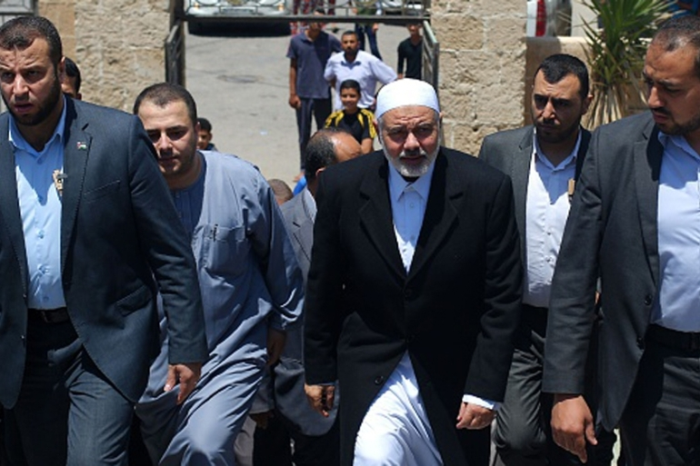 Hamas chief Ismail Haniya arrives at a mosque after giving a speech during the Friday prayer [AFP]