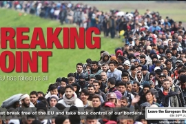 The poster warns against immigration by showing refugees in Slovenia in 2015 [UKIP]