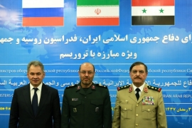 The defence ministers of Russia, Iran and Syria met in Tehran on Thursday [EPA]