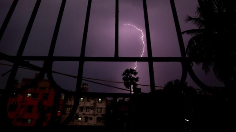 Lightning strikes over Calcutta