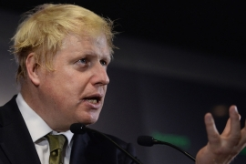 Boris Johnson during a question and answer session in London [Stefan Rousseau/AP]