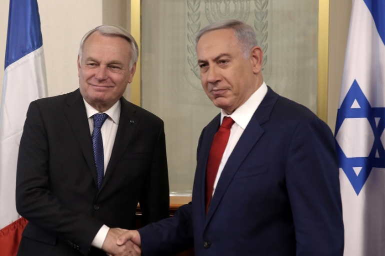 Israeli Prime Minister Benjamin Netanyahu with French Foreign Minister Jean-Marc Ayrault [Reuters]