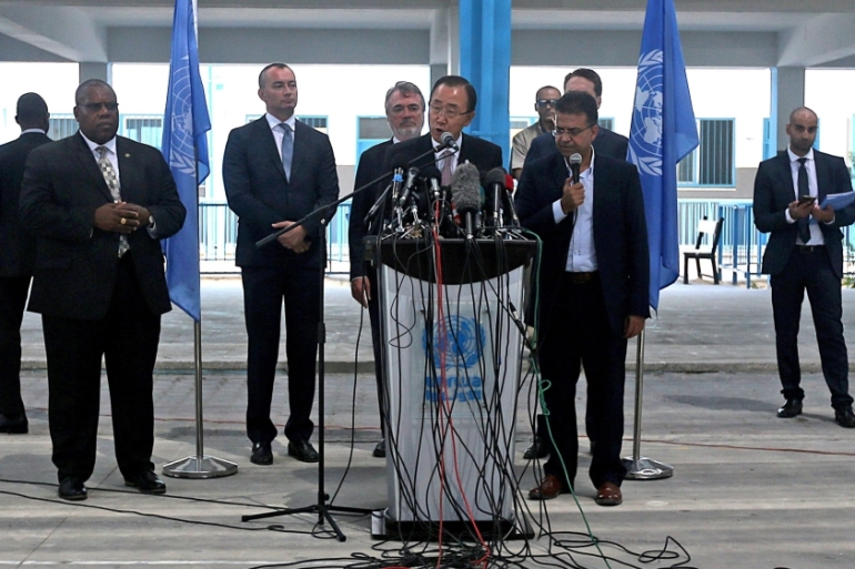 Ban Ki-moon said 'the closure of Gaza suffocates its people, stifles its economy and impedes reconstruction efforts' [EPA]