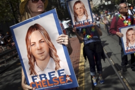 Manning was sentenced to 35 years in prison after a military court conviction of providing classified documents to WikiLeaks [Elijah Nouvelage/Reuters]