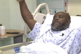 Charles Kinsey says his hands were up when police officers shot him on Monday [Screenshot of YouTube video]