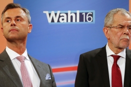 Hofer, left, lost to Van der Bellen by less than a percentage point [Heinz-Peter Bader/Reuters]