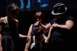 Four Czech Roma women, all victims of involuntary sterilisation, share their stories in a theatre play [Divadlo Ostrava/Al Jazeera]