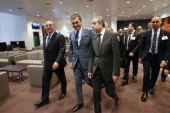 The Turkish delegation arrives at the EU / Turkey accession intergovernmental conference in Brussels, Belgium [EPA]