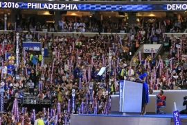 First Lady of the United States Michelle Obama spoke on the first day of the Democratic National Convention [Tannen Maury/EPA]