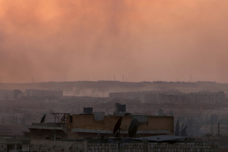 Smoke rises after air strikes on Castello Road in Aleppo, Syria, last month [Abdalrhman Ismail/Reuters]