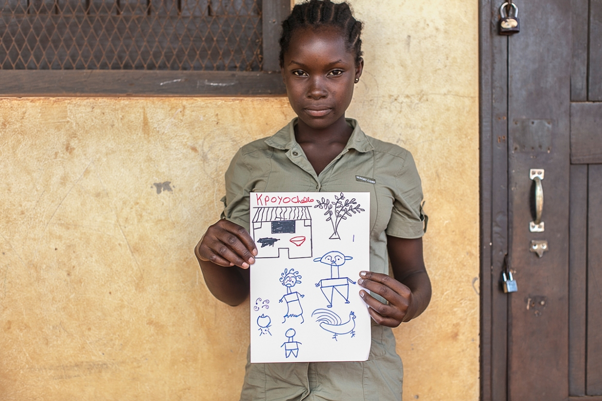 'During the war the house was broken. They had to leave it because of the struggle. Her father became very angry,' says Mathilde, who is 15. More than 400,000 people are still displaced internally within CAR, while nearly half a million have fled the country. [Samuel Hauenstein Swan/Al Jazeera]