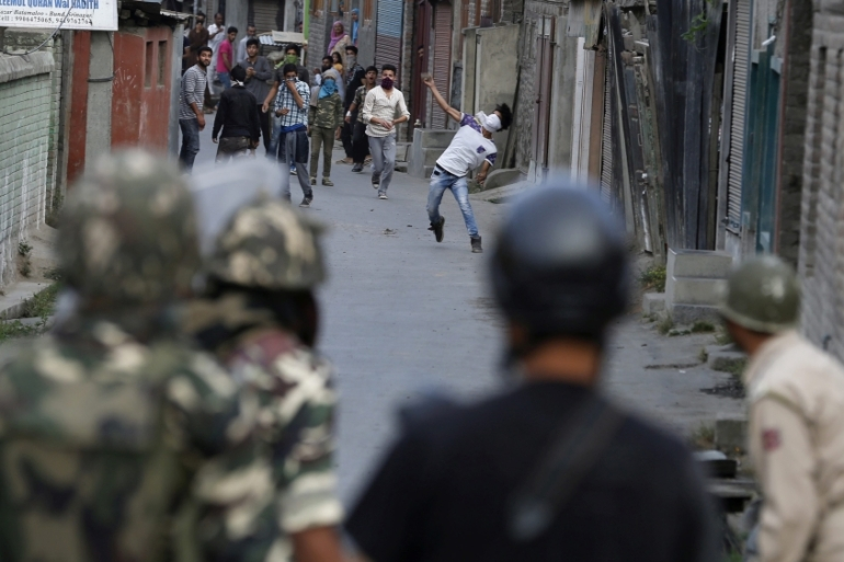 The emergent generation of stone-pelting young Kashmiris are calling the new wave of protests an 'Intifada', writes Hussain [EPA]