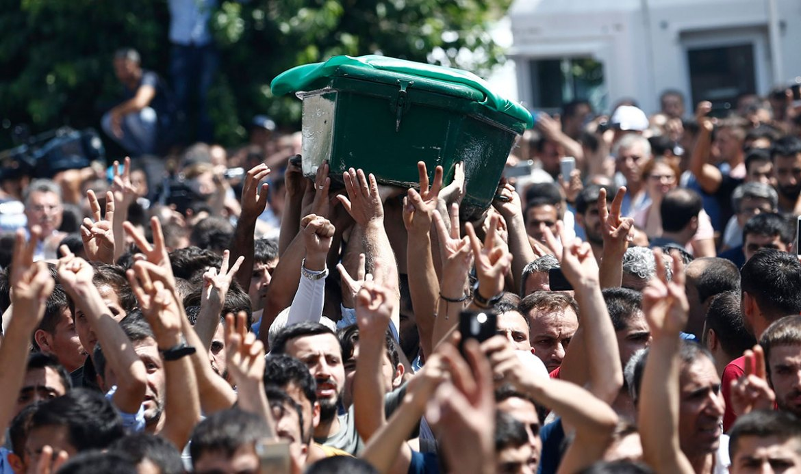 As hundreds waited to say their final goodbye, some voiced anger at what they perceived to be the government's failure to prevent the attack. [Sedat Suna/EPA]