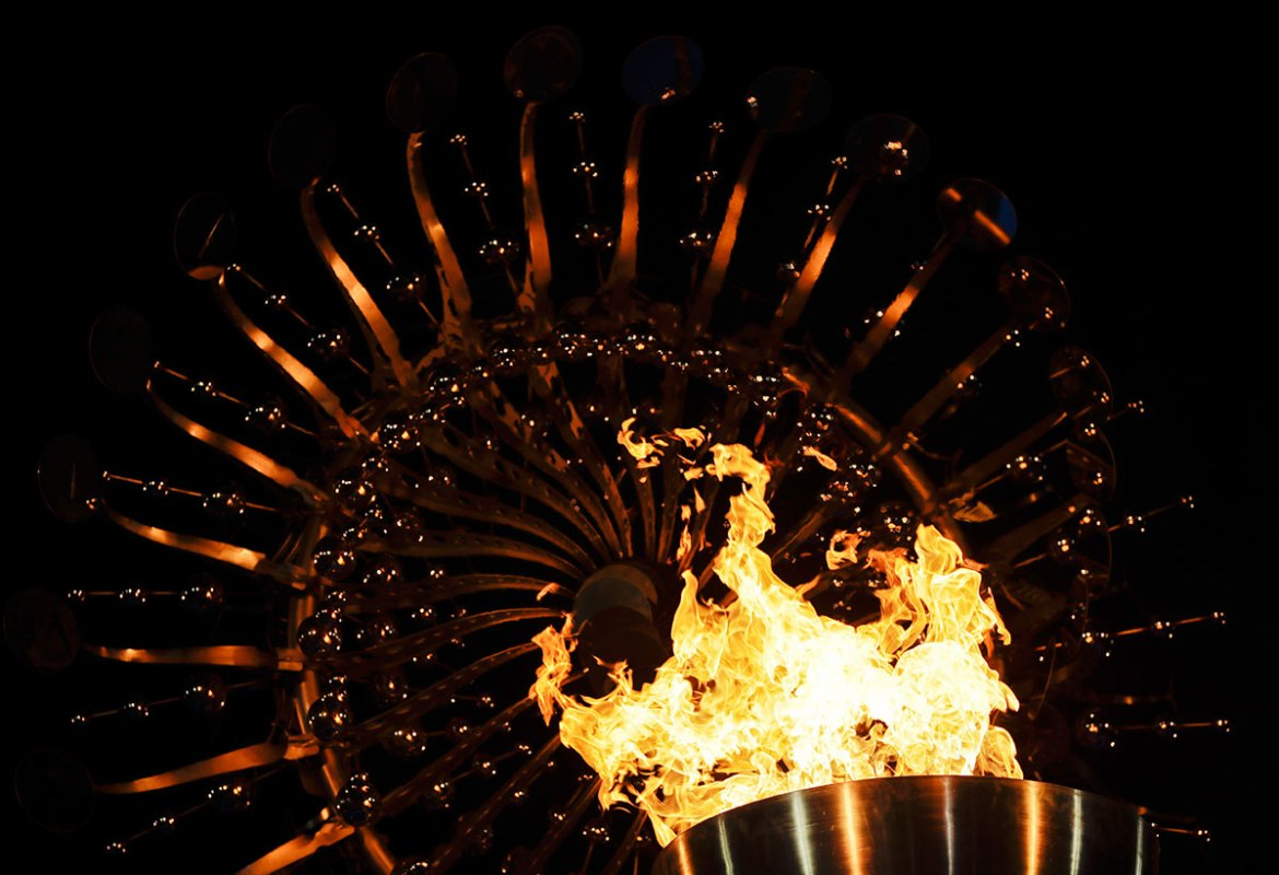 The Olympic flame was lit by marathon runner Vanderlei Cordeiro at the opening ceremony of the 2016 Summer Olympics. [Gregory Bull/AP]