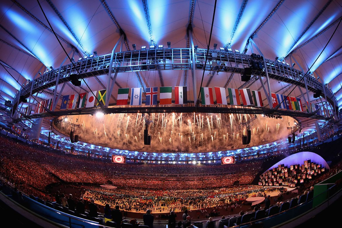 The four-hour opening ceremony's tight budget was reportedly about half of the $42m extravaganza at London 2012. [Clive Mason/Getty Images]