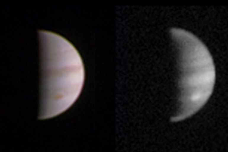 Juno left Earth five years ago and has now made its closest approach to Jupiter [NASA handout/EPA]