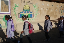 Israeli authorities issued an order to close down the local primary school of al-Khan al-Ahmar in the West Bank [File: Majdi Mohammed/AP]