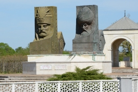 Busts of Ottoman Suleiman the Magnificent and Habsburg nobleman Miklos Zrinyi at Hungarian-Turkish Friendship monument in Szigetvar. Their forces clashed here in 1566. [Dan McLaughlin/Al Jazeera]