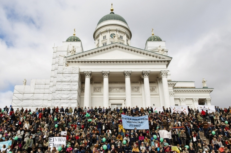 Police in Helsinki estimated that 15,000 people joined Saturday's march [Lehtikuva Lehtikuva/Reuters]