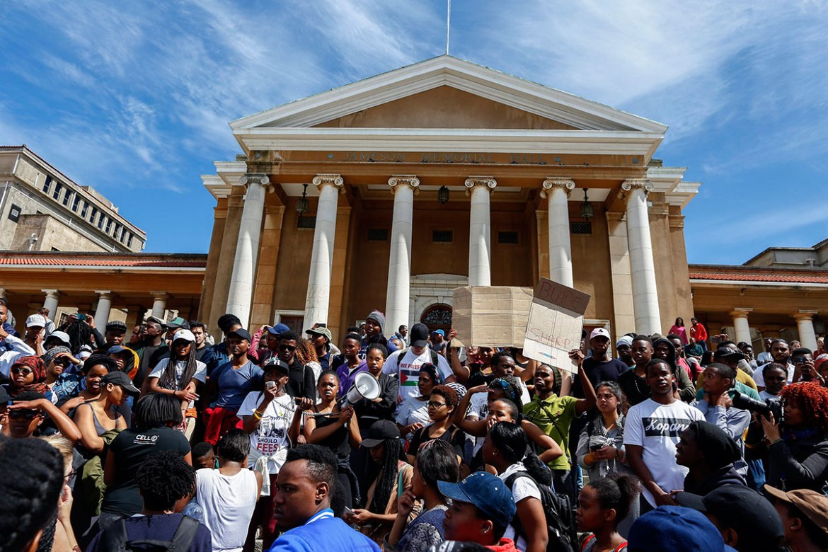 Students protest at the University of Cape Town under the banner #FeesMustFall [Nic Bothma/EPA]