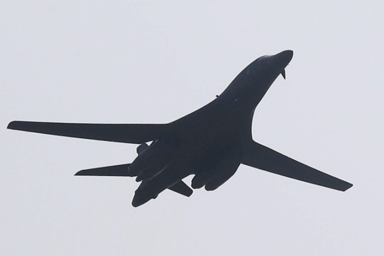 One of the two B-1 Lancer bombers deployed by the US [EPA]