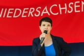 AfD co-chair Frauke Petry speaks at the closing event for the party's local elections campaign in Hanover on September 10 [EPA]