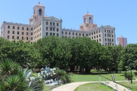 The expansive garden of Havana's Hotel Nacional; the entrance to the Cuban Missile Crisis-era bunker lies to the right [Stephanie Ott/Al Jazeera]