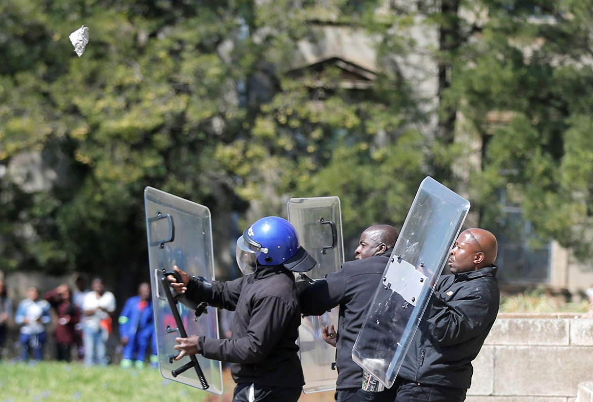 Demonstrations over the cost of university education - prohibitive for many black students - highlight frustration at the inequalities that persist more than two decades after the end of white minority rule [Siphiwe Sibeko/Reuters]