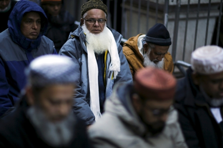 Muslims pray as they take part in a protest against Trump outside of his office in Manhattan, December 2015 [Reuters]
