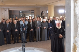 Assad was joined at the prayers by a number of members of his ruling Baath party [EPA]