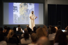 Sultan al-Qassemi says Arab artists depict the anger and demands of their societies [Leila Natsheh/VCU-Q]