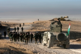 Peshmerga forces advance in the east of Mosul to attack ISIL fighters in Mosul, Iraq [Reuters]