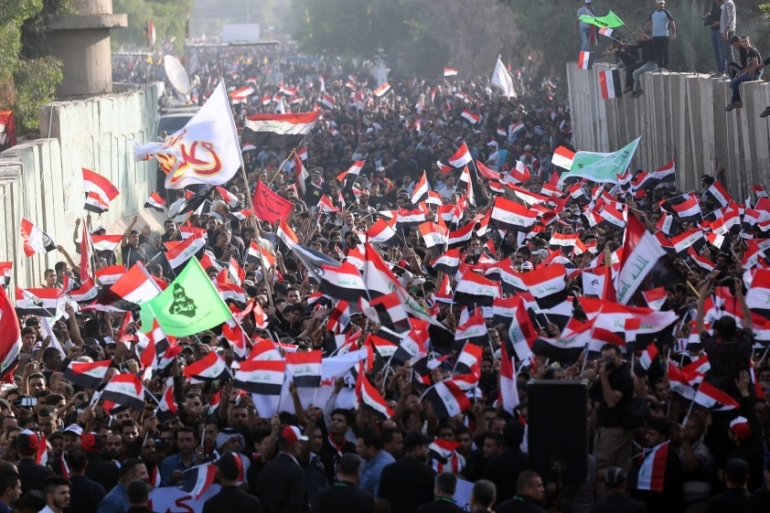 Iraqis demonstrated in front of the Turkish embassy in Baghdad demanding a withdrawal of Turkish troops [EPA]
