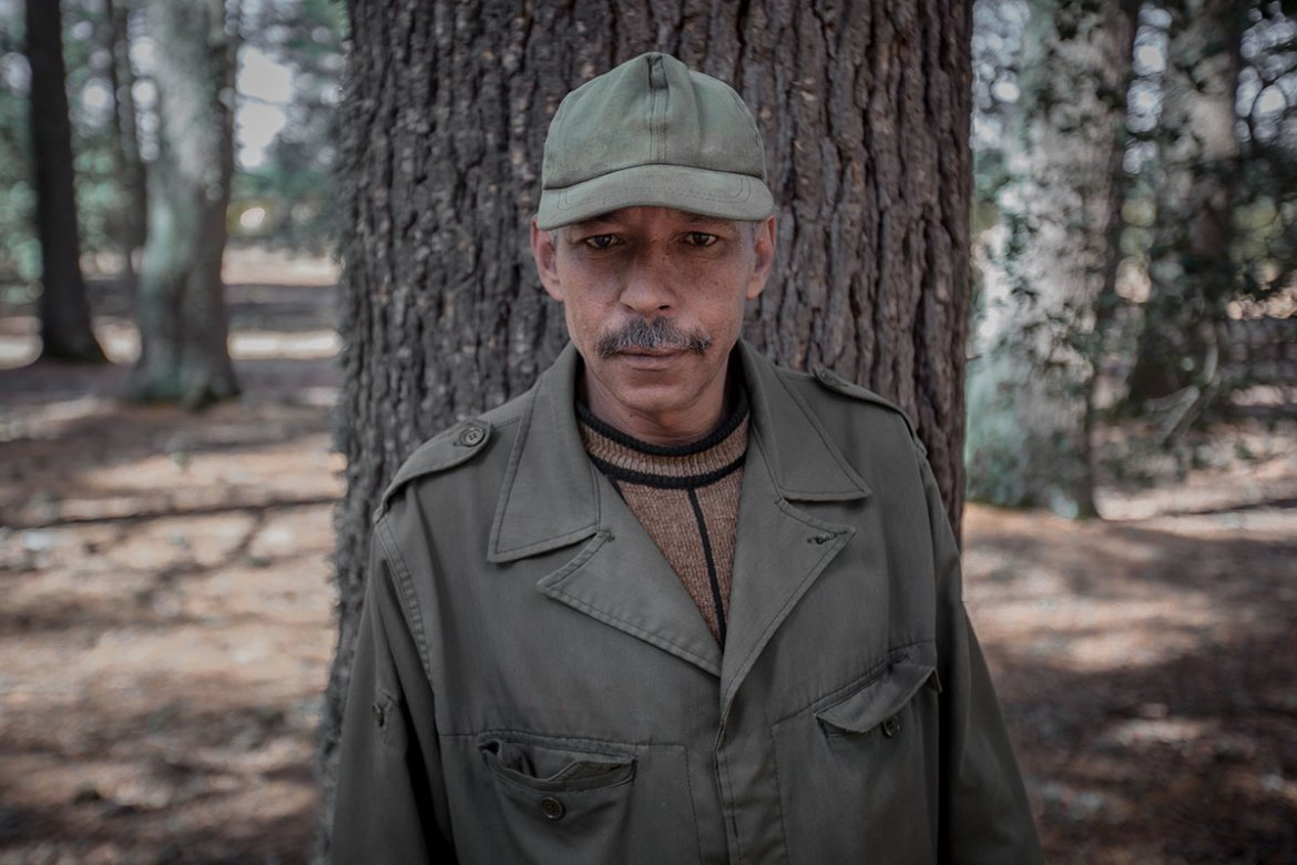 Hamid Ganib, 48, patrols and participates in the protection of several forested areas in collaboration with forestry services. It is part of a pilot project aimed at involving local communities in the preservation of the forests. [Sebastian Castelier/Al Jazeera]