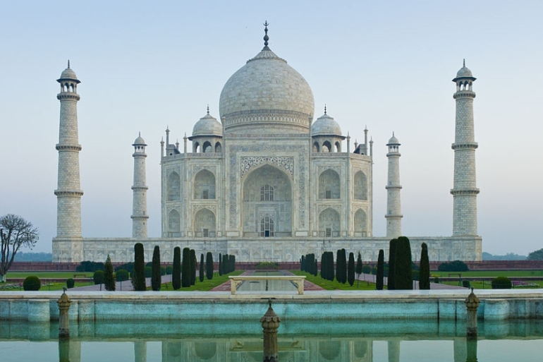 The Taj Mahal mausoleum southern view in Uttar Pradesh, India [Tim Graham/Getty Images]-