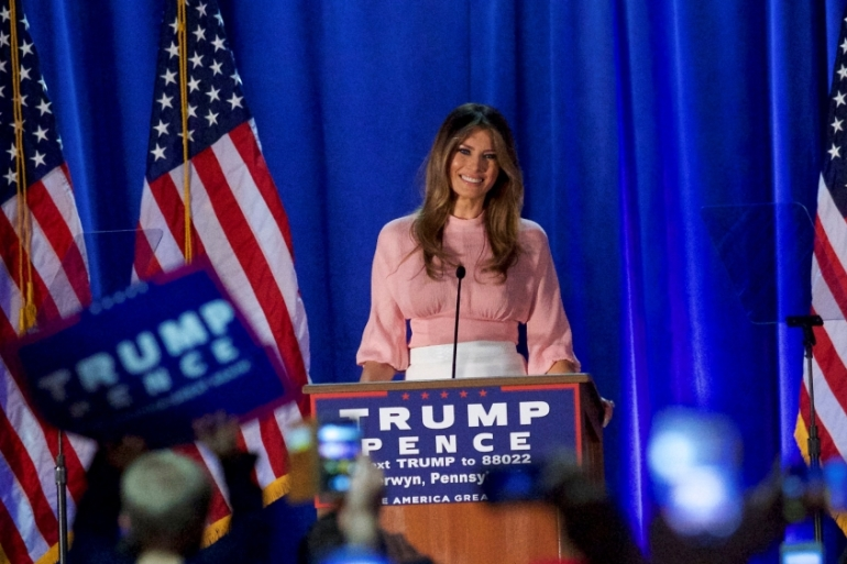 Melania Trump spoke as polls suggested the race for the Oval Office has tightened [Mark Makela/Reuters]