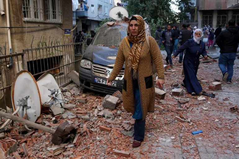 At least nine people were killed in the blast outside a police station in Diyarbakir [EPA]