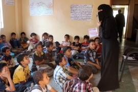 Nema Rasam is one of 2,108 schools across Yemen that can no longer be used as a result of the conflict [Azzam al-Zubair/Al Jazeera]
