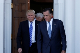 US President-elect Donald Trump and Mitt Romney emerge after their talks at Trump National Golf Club in Bedminster, New Jersey [Reuters]