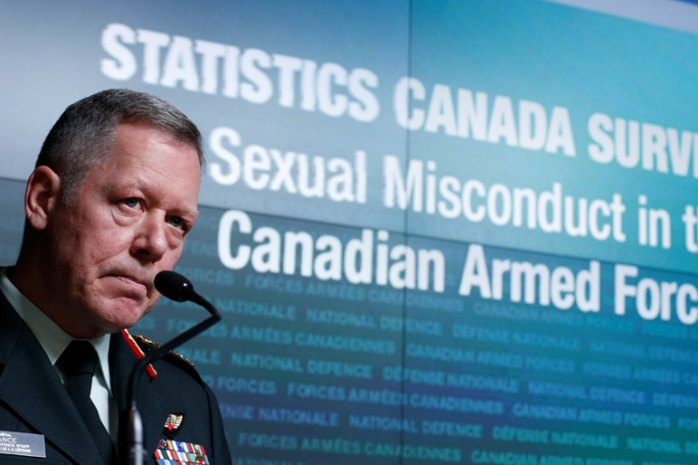 General Jonathan Vance takes part in a news conference on sex assault in the military [Chris Wattie/Reuters]