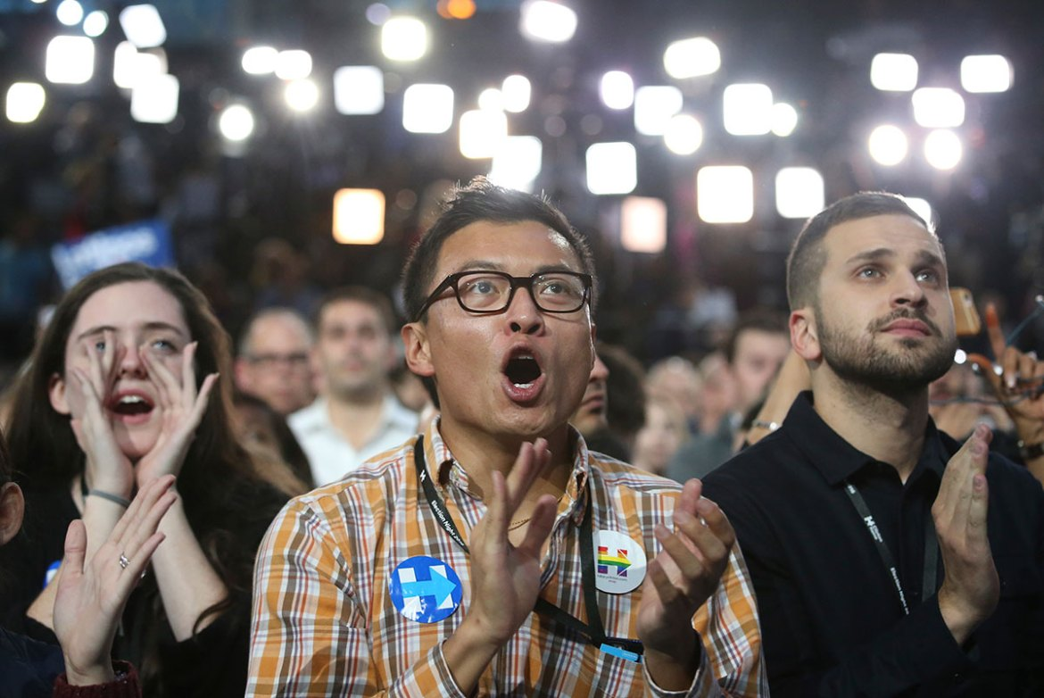 Supporters of Clinton react as they watch results at the election night rally in New York. [Adrees Latif /Reuters]
