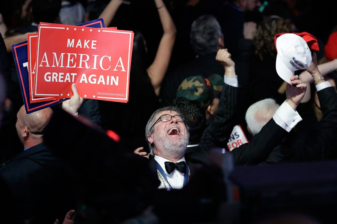 Supporters of Donald Trump react as they watch the election results during the Republican candidate 's election night rally in New York. [John Locher/AP]