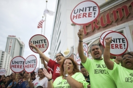 Some of estimated 2,000 union workers from the mid-Atlantic rally on the boardwalk in front of the Trump Taj Mahal Casino before a march in Atlantic City [Reuters]