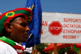 Ethiopians from the Oromo community in Malta protest government and EU support [Darrin Zammit Lupi/Reuters]