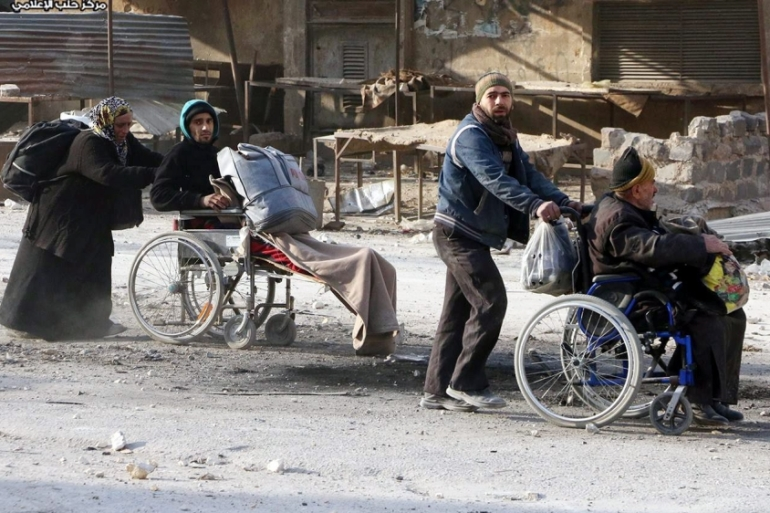 The ICRC estimates that 20,000 Syrians have fled rebel-held eastern Aleppo [EPA]