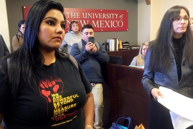 University of New Mexico students and professors present a proposal to declare the campus a 'sanctuary university' [AP]