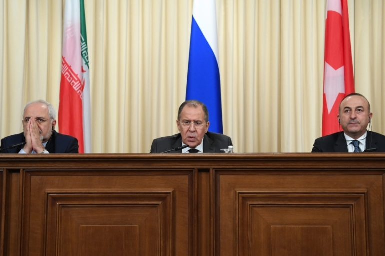 Russia, Iran and Turkey agreed to guarantee Syria peace talks and backed expanding a ceasefire in the war-torn country, Russian Foreign Minister Sergey Lavrov said after talks with counterparts [EPA]